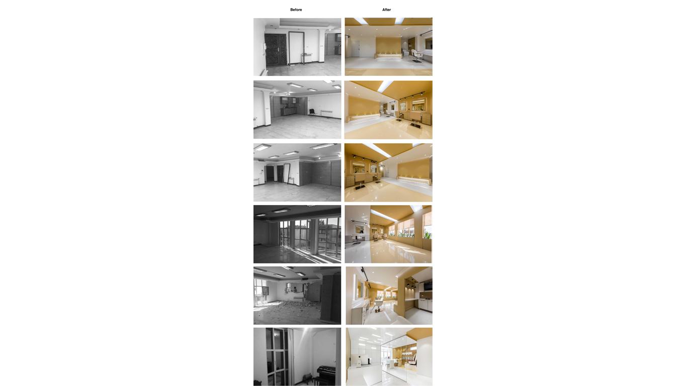 Interior design before and after beauty salon 4 Architecture studio , استودیو معماری شماره چهار قبل و بعد سالن زیبایی