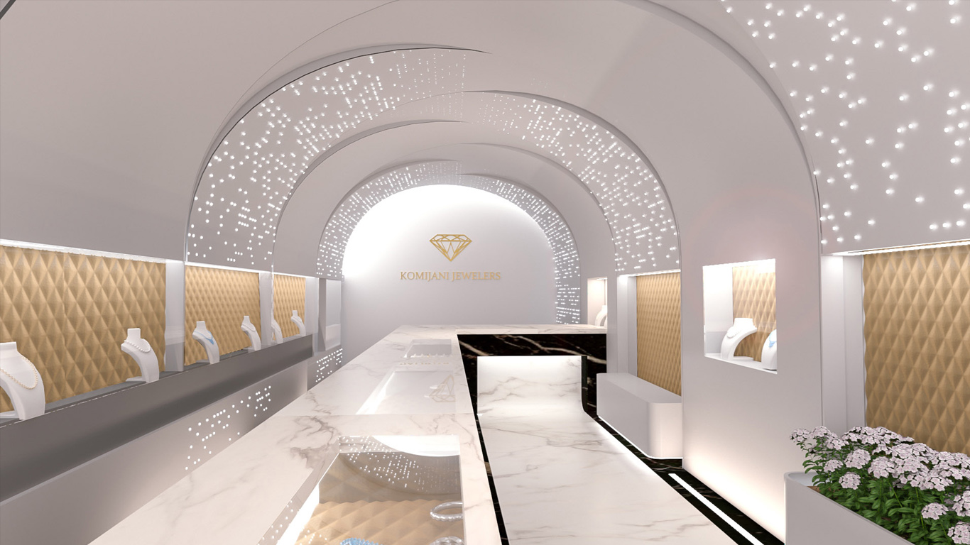 Jewelry Gallery Interior Design, نمای طلا فروشی
