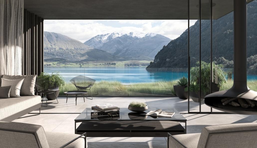 طراحی وبلای لاکچری نیوزیلند با نماهای پانوراما از دریاچه واکاتیپو