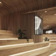 طراحی دکوراسیون داخلی ساختمان با چوب منحنی
